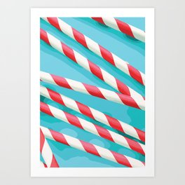 Christmas Candy Stripes Art Print
