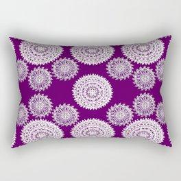 Deep Plum and Silver Patterned Mandalas Rectangular Pillow
