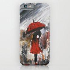 Girl In Red Raincoat Umbrella Rainy Day Fine Art Print Of Acrylic Painting iPhone 6s Slim Case