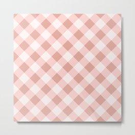 Diagonal buffalo check pale pink Metal Print