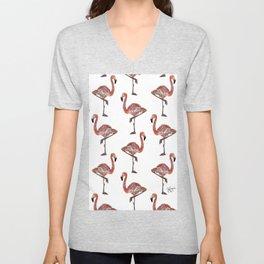 Friendly Pink Flamingos Unisex V-Neck