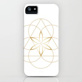 Minimalist Sacred Geometry Flower of Life in Gold and White iPhone Case