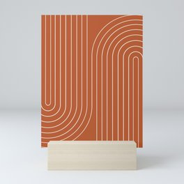Minimal Line Curvature - Coral Red Mini Art Print