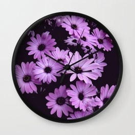 Black & Lilac Color Purple Daisies Wall Clock