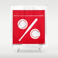 oakland Shower Curtains featuring No191 My Moneyball minimal movie poster by Chungkong