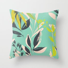Tropical delight: fresh botanical pattern Throw Pillow