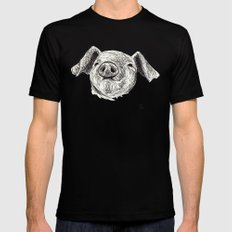 Baby Animals - Pig Mens Fitted Tee Black MEDIUM