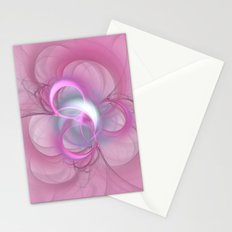 Pink Abstract Fractal on Pink Stationery Cards