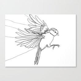 Embroidered Bird Canvas Print