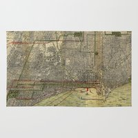 chicago map Area & Throw Rugs featuring Vintage Map of Chicago (1892) by BravuraMedia