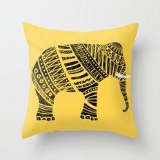 Endangered elephant - yellow Throw Pillow