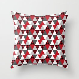 Quilt pattern buffalo check pattern red black and white with grey minimal camping Throw Pillow