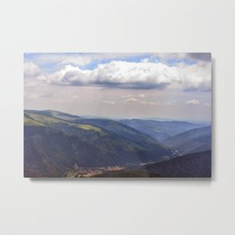 Natural scenery with mountains view and cloudy sky. Metal Print