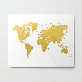 Gold World Map Metal Print