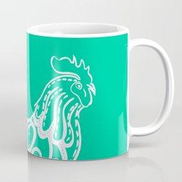 Aqua rooster drawing, drawing in aqua, drawing of a chicken Coffee Mug