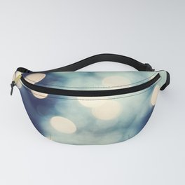 Bokeh Lights Sparkle Photography, Navy Gold Sparkly Abstract Photograph Fanny Pack