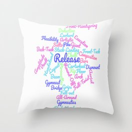 Artistic Gymnastics Word Cloud Throw Pillow