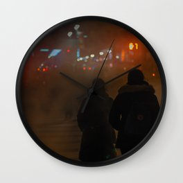 Couples on Street at Night Wall Clock
