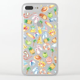 Modern sunshine yellow pink green watercolor beach pattern Clear iPhone Case