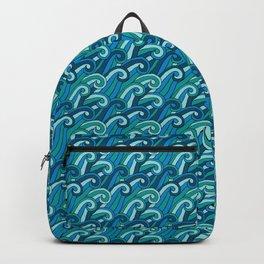 Stylized Blue Ocean Waves Backpack