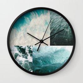 Ocean Waves Aesthetic Collage Wall Clock