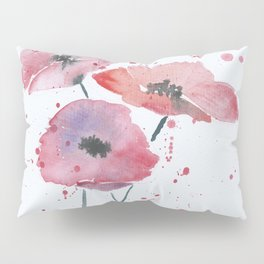 Red poppy flowers watercolor painting Pillow Sham