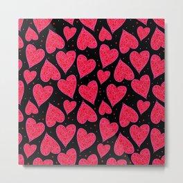 Valentine Hearts Black Background Metal Print