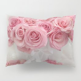 Pink Roses White Roses Shabby Chic Romantic Floral Home Decor Pillow Sham
