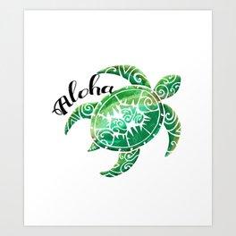 Vintage Hawaiian Distressed Turtle Art Print
