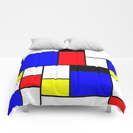 Red Blue Yellow Geometric Squares Comforters