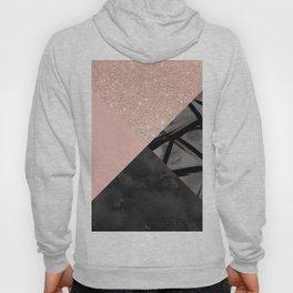 Modern pastel pink black strokes watercolor color block Hoody