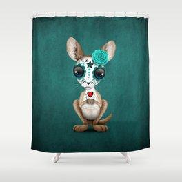 Blue Day of the Dead Sugar Skull Baby Kangaroo Shower Curtain