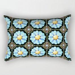 Blue Floral Millefiori Rectangular Pillow