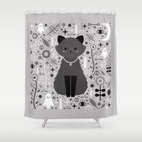 kitten Shower Curtains featuring Kitten Fang  by Carly Watts