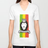 rasta V-neck T-shirts featuring Rasta Lion by Awesome