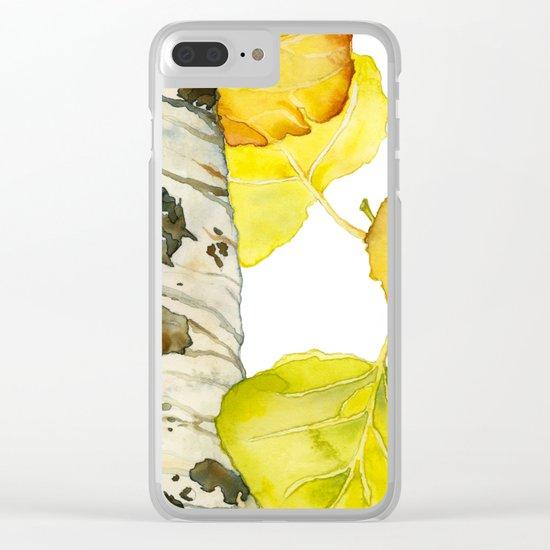 Falling Aspen Leaves Clear iPhone Case