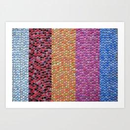 Textile Stripes and Dots Design - Landscape Orientation Art Print