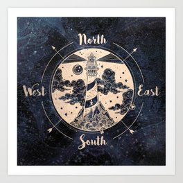Compass World Star Map Art Print