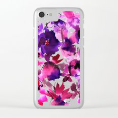 Sara Floral Pink Clear iPhone Case
