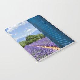 wooden shutters, lavender field Notebook