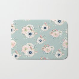 Dog Rose Pattern Mint Bath Mat