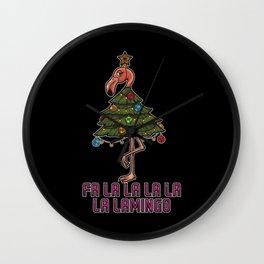 Fa La La La La Lamingo - Xmas Flamingo Wall Clock