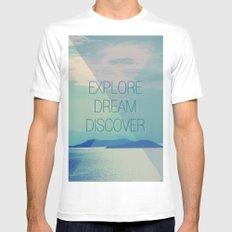 Explore Dream Discover Mens Fitted Tee White MEDIUM