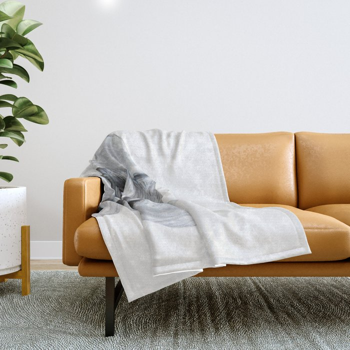 Schnauzer Grey&white, Dog illustration original painting print Throw Blanket