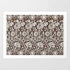 "William Morris Floral Pattern | ""Pink and Rose"" in Chocolate Brown and White Art Print"