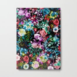 Multicolor Floral Pattern Metal Print
