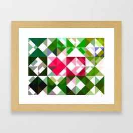 Pink Roses in Anzures 6 Abstract Triangles 1 Framed Art Print