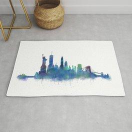 NY New York City Skyline NYC Watercolor art Rug