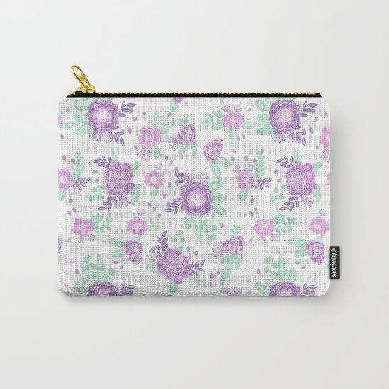 Floral pattern minimal painted nursery mint and purple pastel decor florals Carry-All Pouch