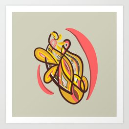 Abstract yellow geometric design Art Print